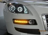 纳智捷大7改装转向灯与日行灯一体化,4透镜4白色天使眼,欧卡改装网,汽车改装