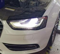 奥迪A4L灯光改装LED双光透镜案例,欧卡改装网,汽车改装