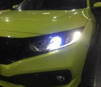 广州本田思域车灯改装定制款LED双光透镜案例,欧卡改装网,汽车改装