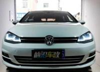 大众高尔夫汽车灯光改装GTR-GLA智能LED双光透镜案例,欧卡改装网,汽车改装