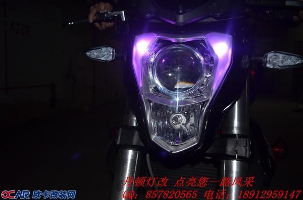 贝纳利摩托车前大灯改装双光透镜氙气灯