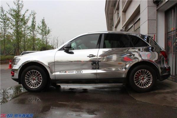 奥迪q5全车电镀改色贴膜 进口镜面汽车改色膜