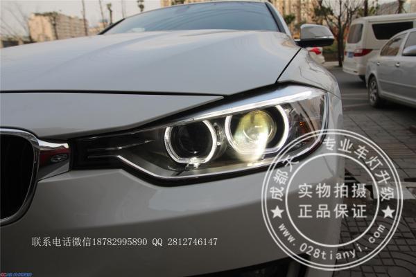 15新款宝马3系316改装车灯原厂高配双天使眼