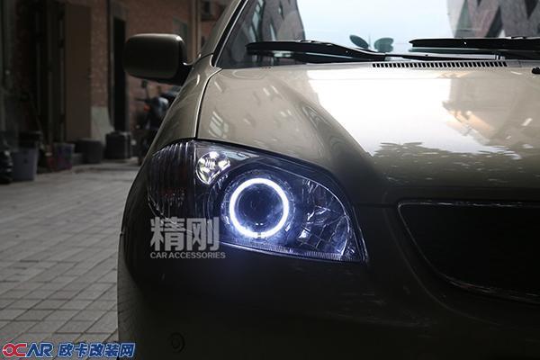 【广州精刚车灯】老威驰升级精刚海拉5双光透镜 天使眼,升级汽车大灯