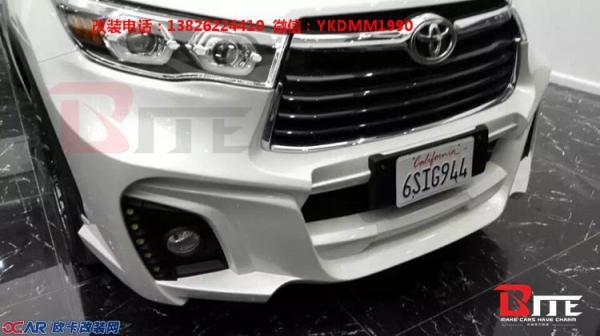 丰田新款汉兰达改装WALD大包围 尾翼排气管 汉兰达改装包围轮毂