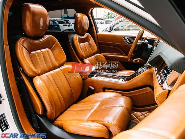 林肯大陆复古风棕色油蜡皮全车内饰改装