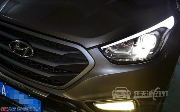 武汉现代ix35大灯改装原厂q5透镜 全新飞利浦d1s灯泡 雾灯黄金眼氙灯