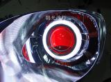 飞度升级国5透镜白色天使眼红色恶魔眼,欧卡改装网,汽车改装