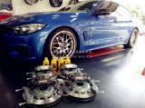 宝马4系改装前后AP5000R刹车套件,欧卡改装网,汽车改装