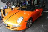 保时捷911全车施工HEXIS大珠光橙,欧卡改装网,汽车改装
