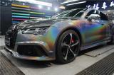 长沙汽车改色贴膜 奥迪RS7施工3M锦绣灰,欧卡改装网,汽车改装