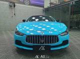 石家庄汽车贴膜改色玛莎拉蒂吉博力贴AX亮浅天空蓝,欧卡改装网,汽车改装