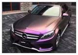 德州汽车改色贴膜 奔驰C级贴钻石酱紫车身改色膜,欧卡改装网,汽车改装